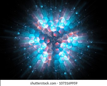 Colorful vibrant hexagons in space explosion, new technology, computer generated abstract background, 3D rendering