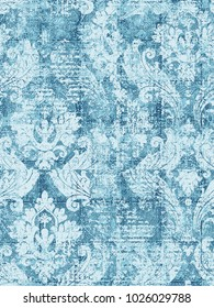 Colorful vintage damask  pattern with floral .Hand drawn background. Can be used for fabric, wallpaper, tile, wrapping, covers and carpet. Islam, Arabic, Indian, ottoman motifs. Monochrome ornament