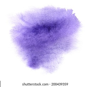 Colorful violet watercolour or ink stain with watercolor paint smudge