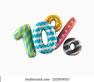 Colorful Vivid 10% discount sale Concept Icon. 3d rendering isolated on White Background
