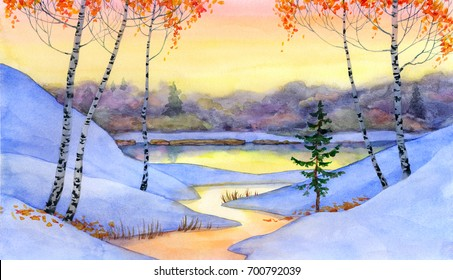 Colorful vivid hand drawn watercolour sketchy drawing on paper card backdrop with space for text on gloaming heaven. Quiet gentle romantic wintertime daybreak scene. Young Betulas on bank of calm bay