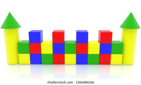 Colorful Wall of toy cubes with two towers.3d illustration