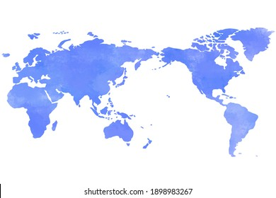 Colorful water color world map painting on white background.