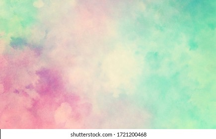 Farbiger Aquarell-Hintergrund abstrakter Sonnenuntergangshimmel mit puffigen Wolken in hellgestrichenen Farben von rosa Blau, Grün und Weiß