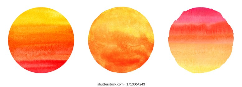 Colorful watercolor circles set, hand drawn collection. Orange, red, yellow round painted sun shapes isolated on white background. Sunset, sunrise with watercolour stains. Fire, flame, tropical colors