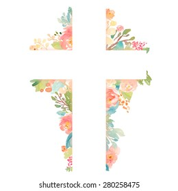 Colorful Watercolor Cross with Flowers Perfect for Easter, Christian, Baptism, and First Communion Designs