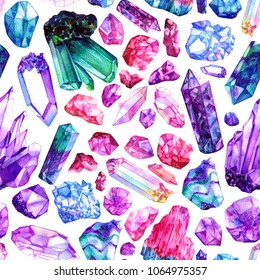 Colorful watercolor crystal gems seamless pattern. Hand drawn illustration on white background.