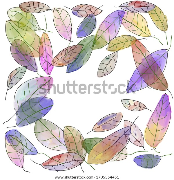 Colorful watercolor fall leaves in a circle with room for copy.