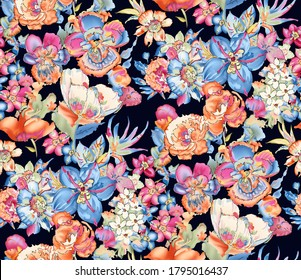 Colorful watercolor flower with leaf bouquet garden summer pattern on Navy blue background