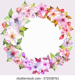 colorful watercolor flowers wreath