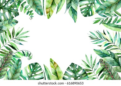 Colorful watercolor frame border with colorful tropical leaves. Tropical forest collection.Perfect for wedding,frame,quotes,pattern,greeting card,logo,invitations,lettering etc