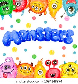 Colorful watercolor frame funny monsters