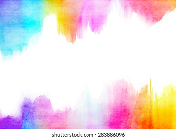 Colorful Watercolor. Grunge texture background. Rainbow colored.