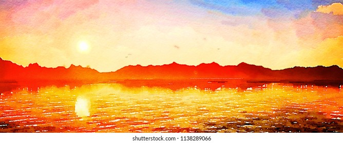 Colorful watercolor hand-painted art illustration : sunrise/sunset golden sky (High-resolution 2D CG illustration)