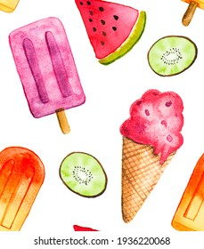 Colorful watercolor ice cream summer popsicle kiwi fruit and water melon background pattern illustration