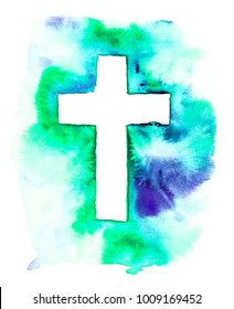 The colorful watercolor illustration of a white cross on turquoise, navy blue, green background and isolated on white background. Holy Rood