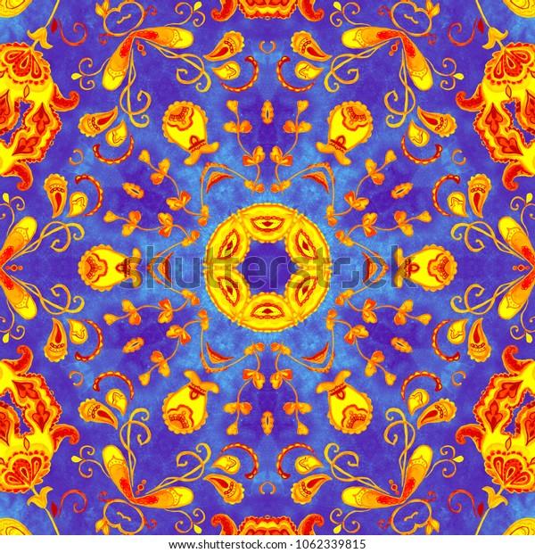 Colorful watercolor kaleidoscope mandala. Oriental vintage round snowflake pattern. Hand drawn abstract snow background. Mystic ottoman motif. Invitation, t-shirt print, wedding card. Tattoo element.