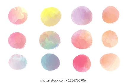 Colorful  watercolor paint stains  backgrounds set