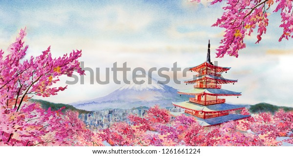 Colorful watercolor painting famous landmarks in Japan. Chureito red Pagoda, Mount Fuji and pink color cherry blossom beautiful in spring season at sunrise in the morning, copy space sky background.
