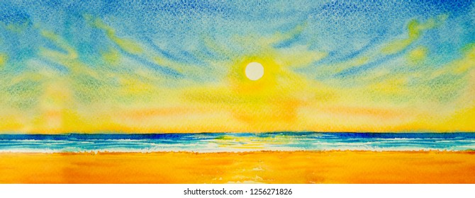 Colorful watercolor painting on paper of seascape paintings with sun  evening background. Modern art paintings ed9423a287daa