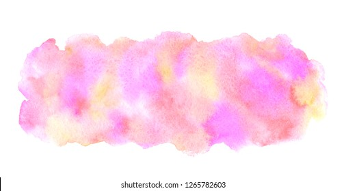 Colorful watercolor rectangle rounded shape with pink, orange, yellow stains. 8 March, Valentine, Women Day background, aquarelle texture. Watercolour hand drawn painted template for banners, frames,