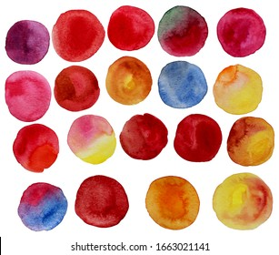 Colorful watercolor round splashes. Red spring colors. Logo details. Hand-drawn colorful isolated round elements