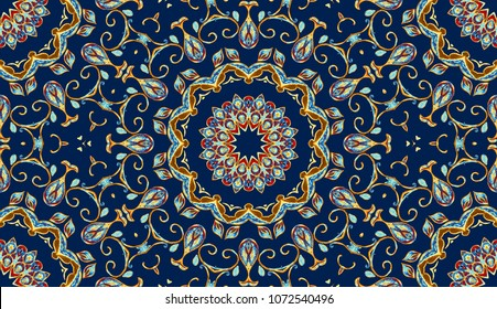 Colorful watercolor seamless pattern rectangle. Oriental vintage carpet. Hand drawn floral abstract mandala background. Textile ottoman motif. Tribal flores backdrop rug. For cushion cover, batik.