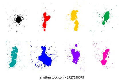 Colorful watercolor set of brushes for painting. Beautiful splash brushes for art design. Brush for painting