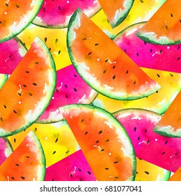 Colorful watercolor slices of watermelon. Seamless jungle pattern with yellow, red and pink halves of tropical fruits. Wrapping, exotic food market advertisement, tropic wallpaper, summer banner