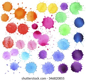 Colorful watercolor splashes isolated on white background. Watercolor drops