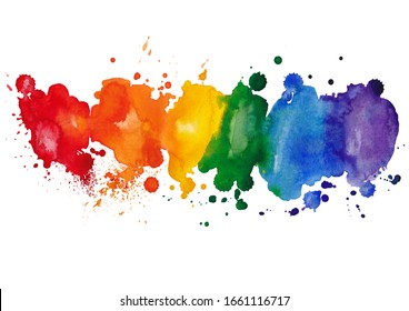 Colorful watercolor stain isolated on a white background Rainbow colors of watery paint.Watercolor colorful drops and spray on a white background.For packaging design of paints, albums.