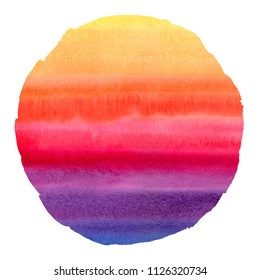 Colorful watercolor stains round texture with uneven edge. Circle shape. Aquarelle striped background. Yellow, orange, red, pink, violet, blue. Watercolour colourful stripes painted abstract template.