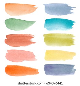 Colorful watercolor stroke backgrounds. Watercolor wash. Watercolor banners