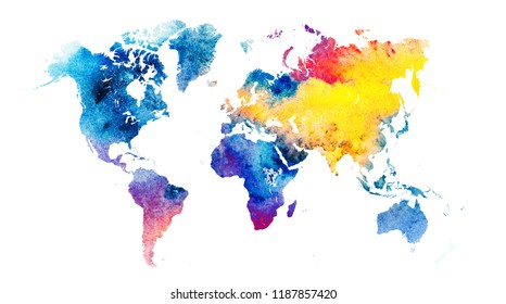 Colorful watercolor  world map .