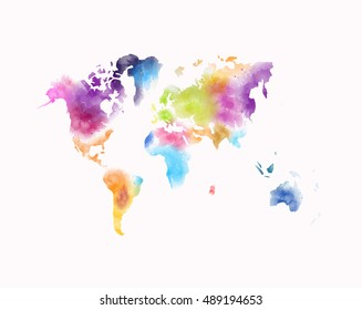 Colorful watercolor world map painting isolated stock illustration colorful watercolor world map painting isolated on white gumiabroncs Images