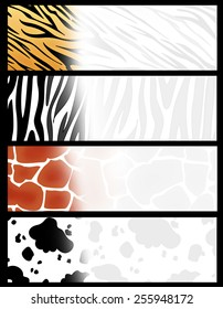 Colorful web banner/  header collection with different animal print backgrounds