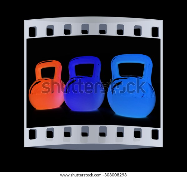 Colorful weights on a black background. The film strip