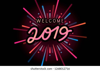 Colorful Welcome 2019 Typography and black background