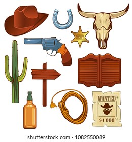 Colorful wild west elements set. Bull skull, cowboy hat, lasso, bottle of whiskey, revolver, sheriff star, signboard, cactus, saloon door isolated illustration.