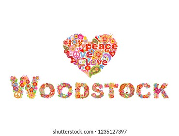 Colorful Woodstock flowers lettering and hippie heart shape for t shirt print, party poster and other design on white background