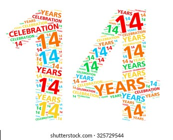 Colorful word cloud for celebrating a 14 year birthday or anniversary