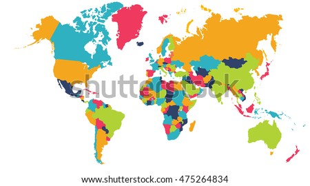 Colorful World Map Europe Asia North Stock Illustration 475264834