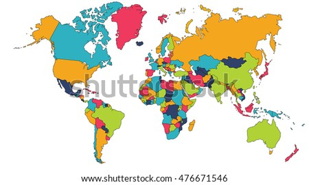 Colorful world map europe asia north stock illustration 476671546 colorful world map europe asia north america south america africa gumiabroncs Choice Image