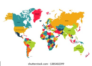 Colorful world map Highly detailed political map with country names White background illustration