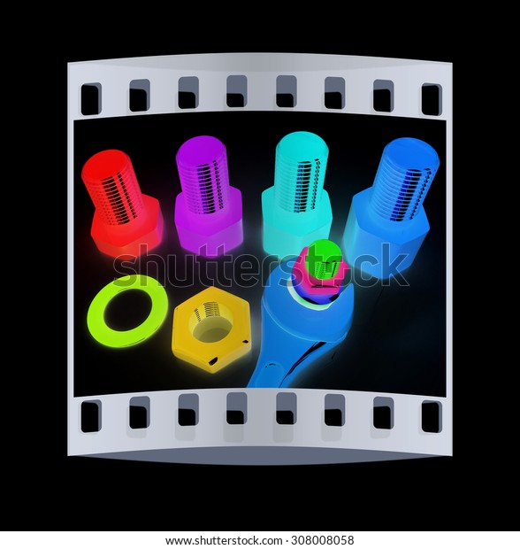 Colorful wrench to tighten the screws on a black background. The film strip