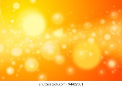 Colorful yellow circles or spheres representing concentration of energy bubbles. Artistic rendering of a concentrated star nursery or galaxy disk of stars with wavy lines of energy emissions.