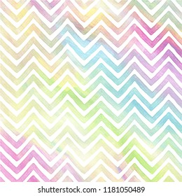Colorful Zig Zag pattern in watercolor