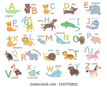 Colorful zoo alphabet with cute animals