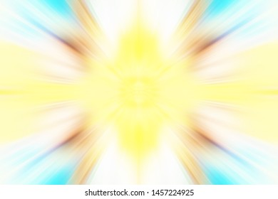 Colorful zoom motion effect background illustration with interesting rays stripes and pastel smooth swooshes. Star burst backdrop for social media sites blog post website advertisement video thumbnail