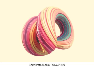 colorfull abstract twisted shape isolated on yellow background. Computer generated geometric. 3D rendering.